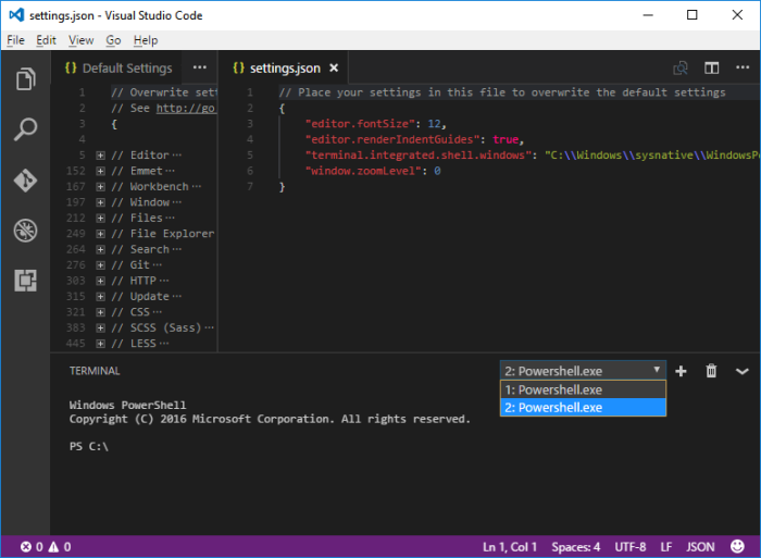 Using PowerShell for your VS Code Integrated Terminal