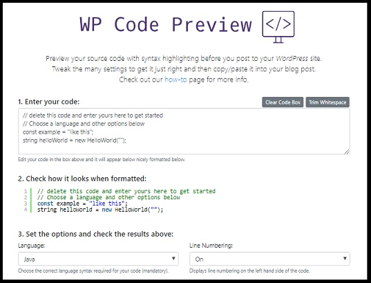 WP Code Preview site image
